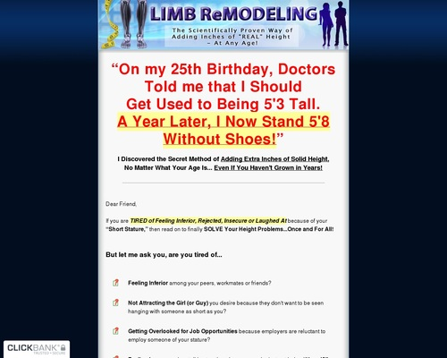 Limb Remodeling – Secret Method of Adding Extra Inches of Solid Height at Any Age!