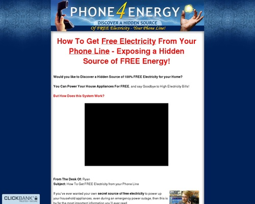 Phone 4 Energy – Discover a Hidden Source of Free Electricity – Your Phone Line!